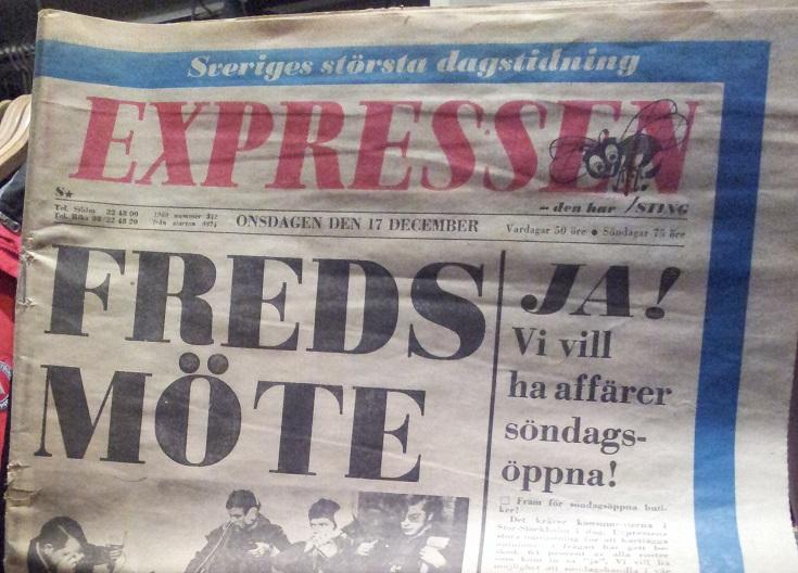 Bild på förstasidan av Expressen 17 dec 1969.