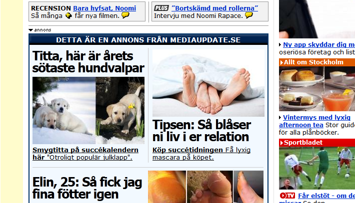 Advertorial på aftonbladet.se