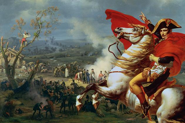 Napoleon Bonaparte här vid slaget vid Austerlitz hans största seger. Trots sitt strategiska snille slutade det inte så bra för hans del.